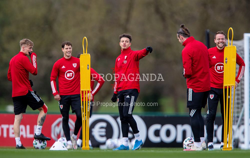 CARDIFF, WALES - Monday, March 29, 2021: Wales' Ethan Ampadu during a training session at the Vale Resort ahead of the FIFA World Cup Qatar 2022 Qualifying Group E game against the Czech Republic. (Pic by David Rawcliffe/Propaganda)