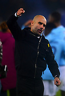 Manchester City Manager Pep Guardiola celebrates after his sides win in the penalty shootout ..Carabao Cup quarter final match, Leicester City v Manchester City at the King Power Stadium in Leicester, Leicestershire on Tuesday 19th December 2017.<br /> pic by Bradley Collyer, Andrew Orchard sports photography.