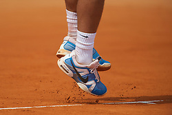 MONTE-CARLO, MONACO - Saturday, April 17, 2010: The blue Nike tennis shoes of Rafael Nadal (ESP) during the Men's Singles Semi-Final on day six of the ATP Masters Series Monte-Carlo at the Monte-Carlo Country Club. (Photo by David Rawcliffe/Propaganda)