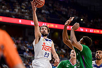 Real Madrid's Sergio Llull and Unicaja Malaga's Jeff Brooks during semi finals of playoff Liga Endesa match between Real Madrid and Unicaja Malaga at Wizink Center in Madrid, May 31, 2017. Spain.<br /> (ALTERPHOTOS/BorjaB.Hojas)