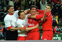Fotball<br /> Liverpool<br /> Foto: Colorsport/Digitalsport<br /> NORWAY ONLY<br /> <br /> Robbie Fowler (Liverpool) celebrates his goal with team mates,Vignal,Barmby and Gerrard (right). Liverpool v Deportivo Alaves UEFA Cup Final 2001.Played in Dortmund. 16/5/2001