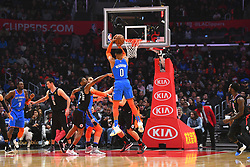 March 8, 2019 - Los Angeles, CA, U.S. - LOS ANGELES, CA - MARCH 08: Oklahoma City Thunder Guard Russell Westbrook (0) shoots a jump shot during a NBA game between the Oklahoma City Thunder and the Los Angeles Clippers on March 8, 2019 at STAPLES Center in Los Angeles, CA. (Photo by Brian Rothmuller/Icon Sportswire) (Credit Image: © Brian Rothmuller/Icon SMI via ZUMA Press)