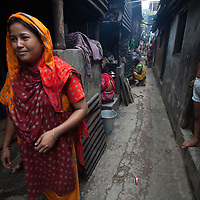 A woman and girl in an urban slum in Dhaka, Bangladesh.