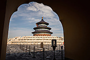 View of the Temple of Heaven from the east gate during summer in Beijing, China