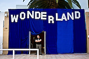 A bouncer waits on the door of the Wonderland club night headlined by DJ Pete Tong and Radio 1 at San Antoni in Ibiza.