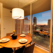 Apartment unit interior photography at One Light Tower, new-build residential highrise in downtown Kansas City, MO, completed in 2015.
