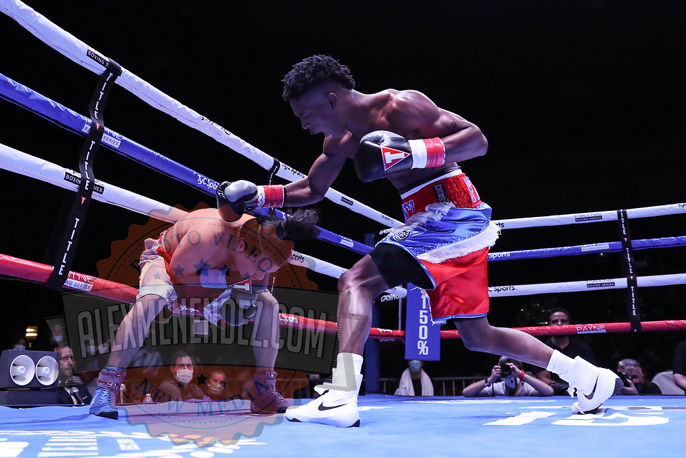 DAYTONA BEACH, FL - AUGUST 15:  Julio Buitrago (L) gets punched by Frency Fortunato Saya during the Alberto Ignacio Palmetta v Tre'Sean Wiggins boxing match at the Ocean Center on August 15, 2020 in Daytona Beach, Florida. (Photo by Alex Menendez/Getty Images) *** Local Caption *** Julio Buitrago; Frency Fortunato Saya