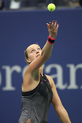 September 5, 2017 - New York City, New York, United States - Petra Kvitova of Czech Republic competes against Venus Williams of USA (not seen) in Women's Singles Quarterfinal tennis match within the 2017 US Open Tennis Championships at Arthur Ashe Stadium in New York, United States on September 5, 2017. (Credit Image: © Foto Olimpik/NurPhoto via ZUMA Press)