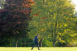 ©Licensed to London News Pictures 10/10/2019.<br /> Sidcup,UK.Man walking to work. A cold autumnal October morning at Footscray Meadows on the River Cray, Sidcup, South East London. Photo credit: Grant Falvey/LNP