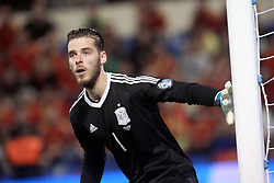 David de Gea, the spanish goalkeeper in action during the World Cup qualification match between Spain vs Albania in Alicante, Spain, on October 06, 2017. Photo by Giuliano Bevilacqua/ABACAPRESS.COM