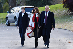 President Donald Trump, First lady Melania Trump and son Barron Trump depart the White House to spend Thanksgiving in Florida in Washington, DC on November 20, 2018. Photo by Olivier Douliery/ABACAPRESS.COM