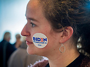 23 NOVEMBER 2019 - DES MOINES, IOWA: A person with a Biden sticker on her cheek at a campaign event for Vice President Joe Biden in Des Moines Saturday. Vice President Biden announced that Tom Vilsack, the former Democratic governor of Iowa, endorsed him. Biden and Vilsack appeared with their wives at an event in Des Moines. Iowa hosts the first presidential selection event of the 2020 election cycle. The Iowa caucuses are on February 3, 2020.                   PHOTO BY JACK KURTZ