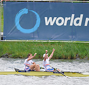 Amsterdam, NETHERLANDS, A final, Men's Pair. Bow George NASH and Constantine LOULOUDIS.   2011 FISA U23 World Rowing Championships, Sunday, 24/07/2011 [Mandatory credit:  Peter Spurrier/Intersport Images]. , Bosbaan is a rowing lake, course, Amsterdamse Bos Amsterdam Forest, Amstelveen, Netherlands., Amstelveen,