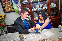 Middletown, New Jersey | 2011<br /> Justin Haggan and Hema Ramaswamy, students in the special education program at Middletown High School South, meet at Hema's house to get ready for their senior prom.