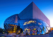 Florida, Saint Petersburg, New Salvador Dali Museum, Triangular Glass Architecture Referred To As The 'Glass Enignma', Homage To Buckminster Fuller's Geodesic Domes, Dusk, Opened 1/11/11
