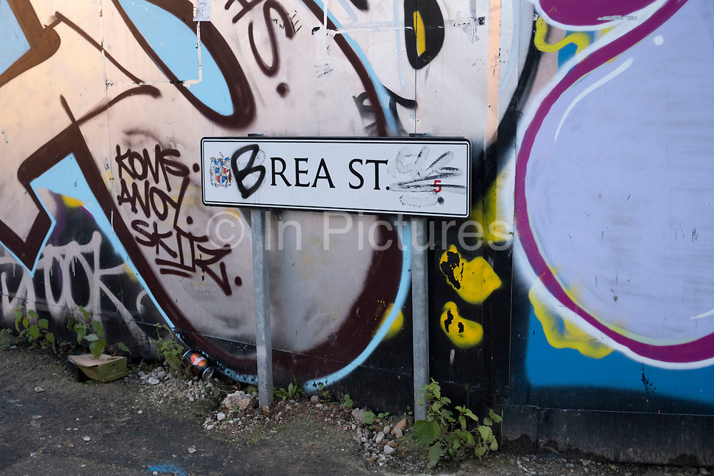 Rea Street in Digbeth has its street sign regularly defaced in an amusing way spelling out the word breast on 7th January 2021 in Birmingham, United Kingdom. To much amusement, this is a good example of the Brummie sense of humour.