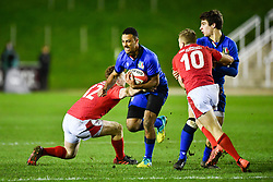 Michael Mba of Italy evades the tackle of Aneurin Owen of Wales <br /> <br /> Photographer Craig Thomas/Replay Images<br /> <br /> U20 Six Nations - Wales v Italy  - Friday 31st January 2020 - Stadiwm Zip World (Parc Eirias) - Colwyn Bay<br /> <br /> World Copyright © Replay Images . All rights reserved. info@replayimages.co.uk - http://replayimages.co.uk