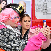 John Dixon and Nadia Essex attend Celeb Bri Tea, on board the BB Bakery bus on 22 March 2019, London, UK.