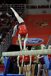 05 January 2013: Redbird Gymnastics team performs at halftime during an NCAA Missouri Valley Conference (MVC) mens basketball game between the Northern Iowa Panthers and the Illinois State Redbirds in Redbird Arena, Normal IL