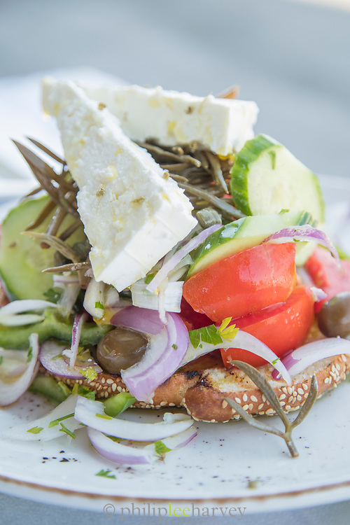 Close up of Greek salad with feta, tomato, cucumber and onion, Lesbos, Greece
