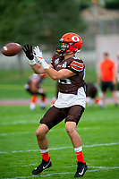 KELOWNA, BC - AUGUST 17:  Kyle ZAKALA #85 of Okanagan Sun receives the ball during pre game warm up against the Westshore Rebels  at the Apple Bowl on August 17, 2019 in Kelowna, Canada. (Photo by Marissa Baecker/Shoot the Breeze)