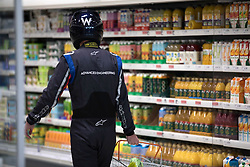 EDITORIAL USE ONLY. PICTURE POSED BY MODEL A racing driver helps Sainsbury's to announce the roll out of Formula 1-inspired aerofoil technology into its in-store fridges. The move, in partnership with Williams F1, is forecast to reduce energy consumption by 15\% and significantly impact the supermarket's carbon footprint.