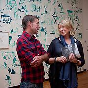 Artist Dan Dowd and Martha Stewart at Bowdoin College Art Museum
