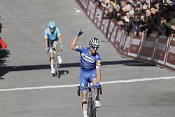 March 9, 2019 - Siena, Italy - French Julian Alaphilippe of Deceuninck - Quick-Step, celebrates as he just won the Strade Bianche one day cycling race in Siena, Italy, Saturday 09 March 2019...BELGA PHOTO YUZURU SUNADA (Credit Image: © Yuzuru Sunada/Belga via ZUMA Press)