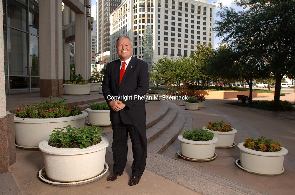 City of Orlando Mayor Buddy Dyer stands on the front steps of City Hall in downtown Orlando, Florida.