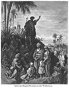 John the Baptist Preaching in the Wilderness [Mark 1:6-7] From the book 'Bible Gallery' Illustrated by Gustave Dore with Memoir of Dore and Descriptive Letter-press by Talbot W. Chambers D.D. Published by Cassell & Company Limited in London and simultaneously by Mame in Tours, France in 1866