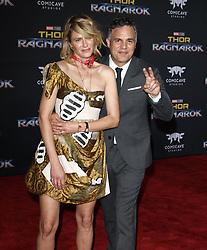 Thor: Ragnarok Premiere at El Capitan Theatre in Hollywood, California on 10/10/17. 10 Oct 2017 Pictured: Mark Ruffalo, Sunrise Coigney. Photo credit: River / MEGA TheMegaAgency.com +1 888 505 6342