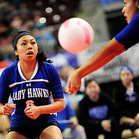 111612  Adron Gardner<br /> <br /> Laguna Acoma Hawk Randi Romero (6) looks on as a team mater receives a Hatch Valley Bear serve in the state volleyball quarterfinals at the Santa Ana Star Center in Rio Rancho Friday.