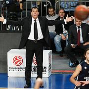 Anadolu Efes's coach Ufuk SARICA during their Turkish Airlines Euroleague Basketball Group C Game 6 match Anadolu Efes between Partizan at Sinan Erdem Arena in Istanbul, Turkey, Wednesday, November 23, 2011. Photo by TURKPIX