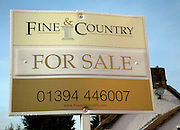 Fine and Country estate agent For Sale sign close-up, Suffolk, England