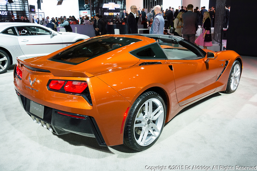 DETROIT, MI, USA - JANUARY 12, 2015: Chevrolet Corvette Stingray on display during the 2015 Detroit International Auto Show at the COBO Center in downtown Detroit.