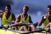 Barcelona Olympics 1992 - Lake Banyoles, SPAIN, Gold Medallist, AUS M4- [Oarsome Foursome] COOPER Andrew, GREEN Nicholas, McKay Mike, TOMKINS James,  Photo: Peter Spurrier