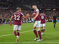 Football - 2021 / 2022 Premier League - West Ham United vs Leicester City - London Stadium - Monday 23rd August 2021<br /> <br /> West Ham United's Said Benrahma celebrates scoring the 2nd goal with Declan Rice.<br /> <br /> COLORSPORT/Ashley Western