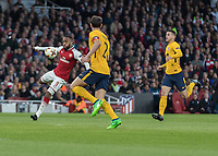 Football - 2017 / 2018 UEFA Europa League - Semi-Final, First Leg: Arsenal vs. Atletico Madrid<br /> <br /> Alexandre Lacazette (Arsenal FC) prepares to strike the volley at The Emirates.<br /> <br /> COLORSPORT/DANIEL BEARHAM