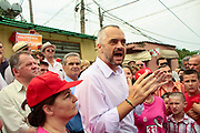 Albania's Socialist Party leader Edi Rama addresses his supporters during a electoral campaign rally ahead of the upcoming general election in Tirana, Albania on Sunday, June 21, 2009. Albanians will vote in the legislative elections on 28 June. (Photo by Vudi Xhymshiti)