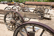 Antique wagon wheels at the Eastern California Museum, 155 N. Grant Street, Independence, California, 93526, USA. The Museum was founded in 1928 and has been operated by the County of Inyo since 1968. The mission of the Museum is to collect, preserve, and interpret objects, photos and information related to the cultural and natural history of Inyo County and the Eastern Sierra, from Death Valley to Mono Lake.