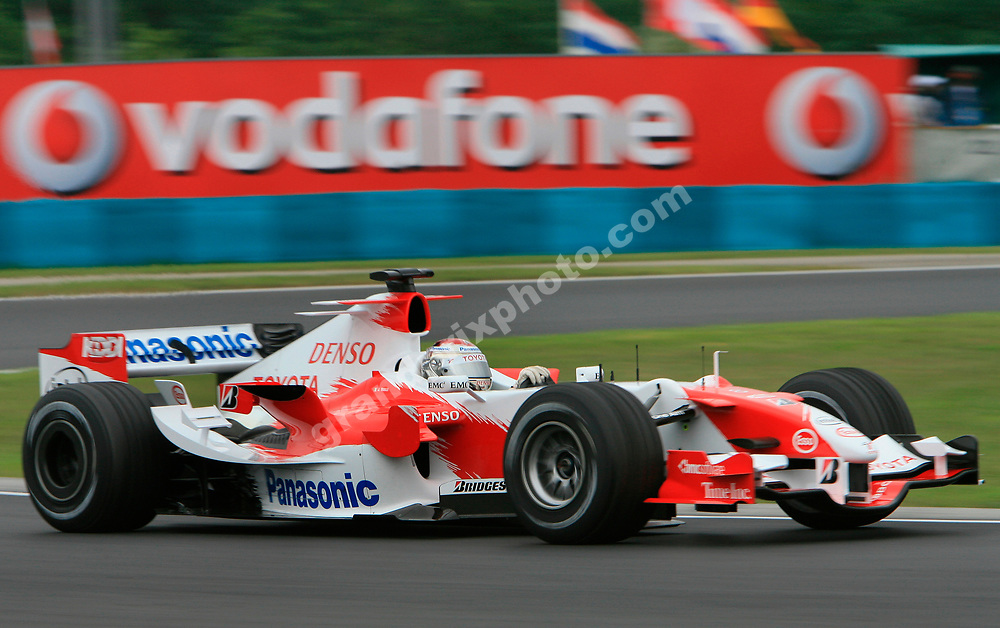 Toyota driver Jarno Trulli during Friday practice for the 2006 Hungarian at the Hungaroring outside Budapest. Photo: Grand Prix Photo
