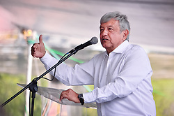 """April 13, 2018 - April 13, 2018 Cuautitlan Izcalli, State of Mexico. The candidate for the presidency of Mexico, Andres Manuel López Obrador, of the Juntos Haremos Historia coalition, visited the municipality of Cuautitlán Izcalli, state of Mexico.  PHOTO:  OMAR LÃ""""PEZ (Credit Image: ©  via ZUMA Wire)"""