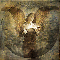 Angel with open hearted gesture.