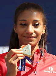 Belgium's Nafissatou Thiam holds her gold medal won in the Women's Heptathlon, during day five of the 2018 European Athletics Championships at the Olympic Stadium, Berlin.