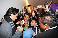Sergio Perez (MEX) Sahara Force India F1 signs autographs for the fans.<br /> Sahara Force India F1 Team Livery Reveal, Soumaya Museum, Mexico City, Mexico. Wednesday 21st January 2015.