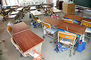 empty benches at an elementary school