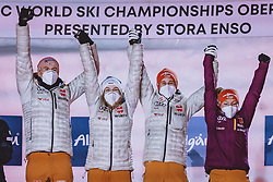 01.03.2021, Oberstdorf, GER, FIS Weltmeisterschaften Ski Nordisch, Oberstdorf 2021, Mixed Teambewerb, Skisprung HS106, Siegerehrung, im Bild Karl Geiger (GER), Katharina Althaus (GER), Markus Eisenbichler (GER), Anna Rupprecht (GER) // Karl Geiger of Germany Katharina Althaus of Germany Markus Eisenbichler of Germany Anna Rupprecht of Germany during the Award Ceremony for the ski jumping HS106 mixed team competition of FIS Nordic Ski World Championships 2021 in Oberstdorf, Germany on 2021/03/01. EXPA Pictures © 2021, PhotoCredit: EXPA/ Dominik Angerer