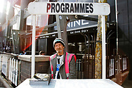 Programme seller at St James's Park during the EFL Sky Bet Championship match between Newcastle United and Burton Albion at St. James's Park, Newcastle, England on 5 April 2017. Photo by Richard Holmes.