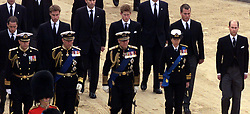 File photo dated 09/04/02 of (left to right)Viscount Linley, the Duke of York, Prince William, the Prince of Wales, the Duke of Edinburgh, Prince Harry, the Princess Royal, Peter Phillips and Prince Edward, following the coffin of Queen Elizabeth, the Queen Mother as it leaves Westminster Hall. The Queen mother's funeral was the last royal funeral to be extensively televised in the UK. Issue date: Friday April 16, 2021.