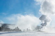 Upper Geyser Basin of Yellowstone National Park during winter